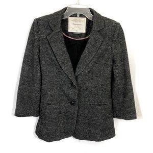Anthro Cartonnier Gray tweed two button blazer